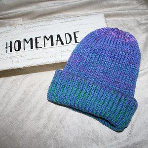 Purple blue green knit beanie handmade YOUTH